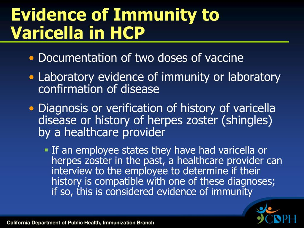 Evidence of Immunity to Varicella in HCP