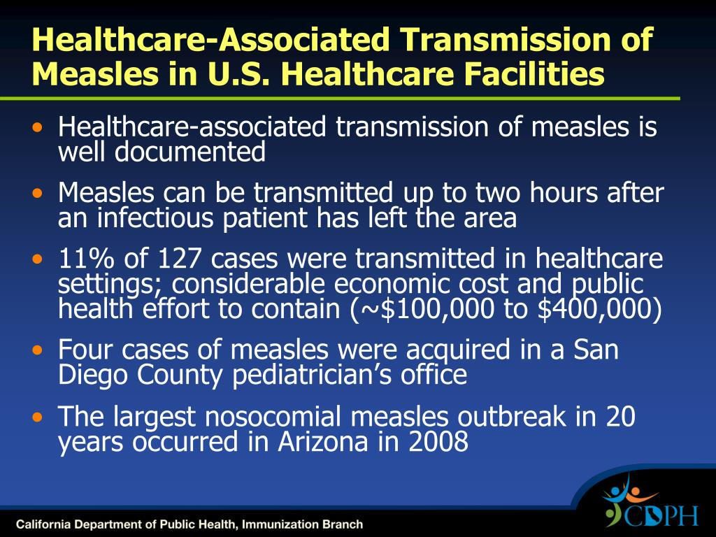 Healthcare-Associated Transmission of Measles in U.S. Healthcare Facilities