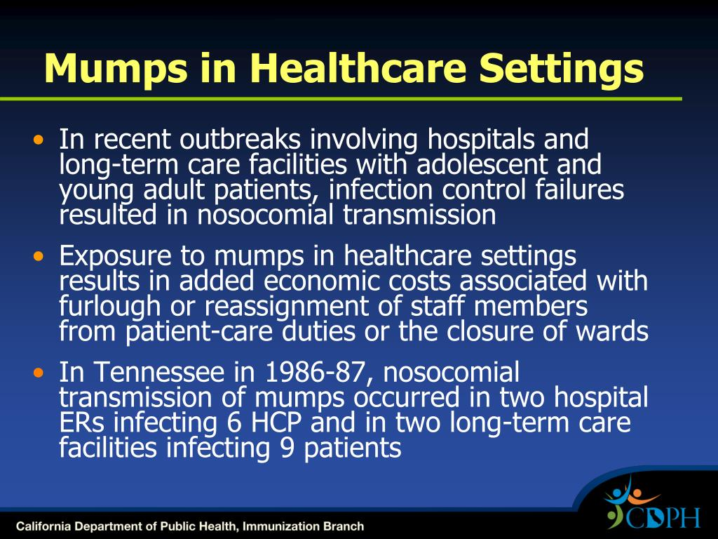 Mumps in Healthcare Settings