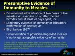 presumptive evidence of immunity to measles