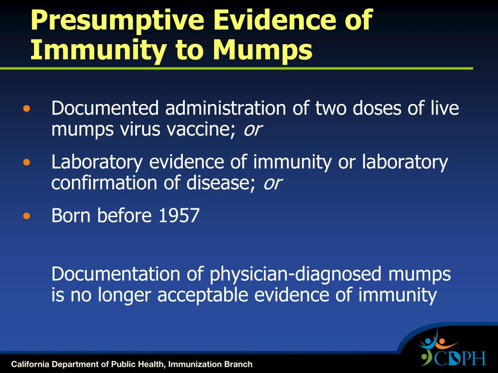 Presumptive Evidence of Immunity to Mumps