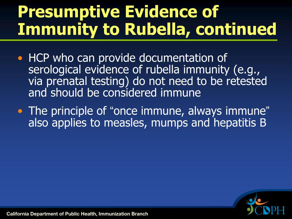 Presumptive Evidence of Immunity to Rubella, continued
