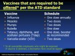 vaccines that are required to be offered per the atd standard