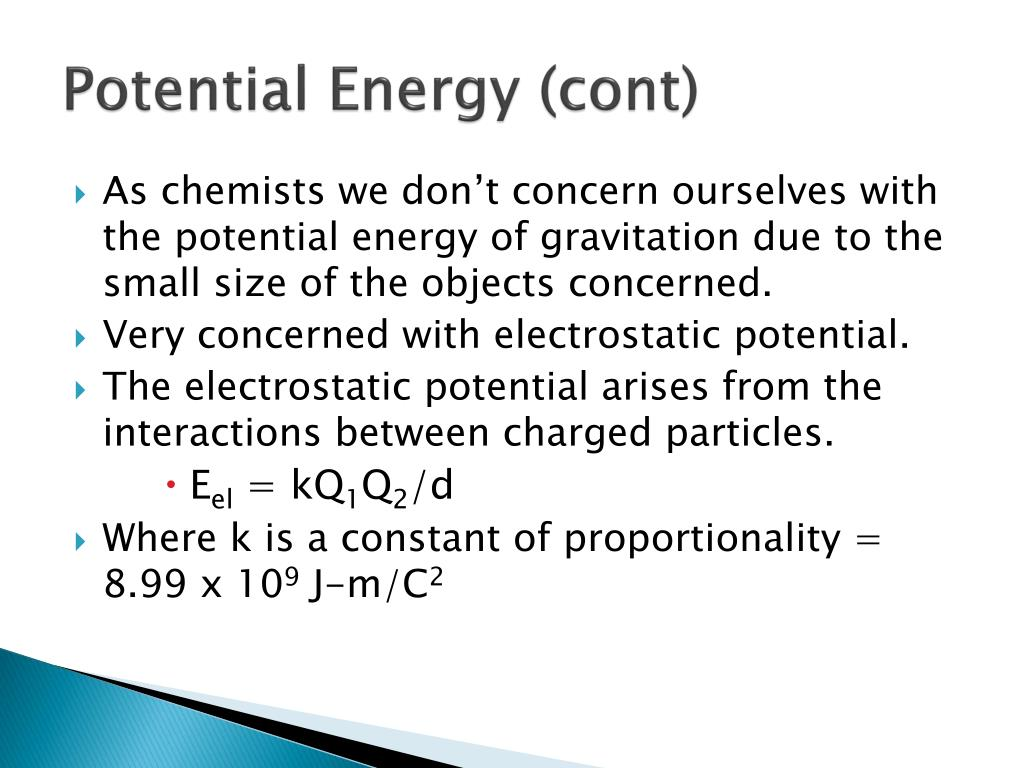 Potential Energy (cont)