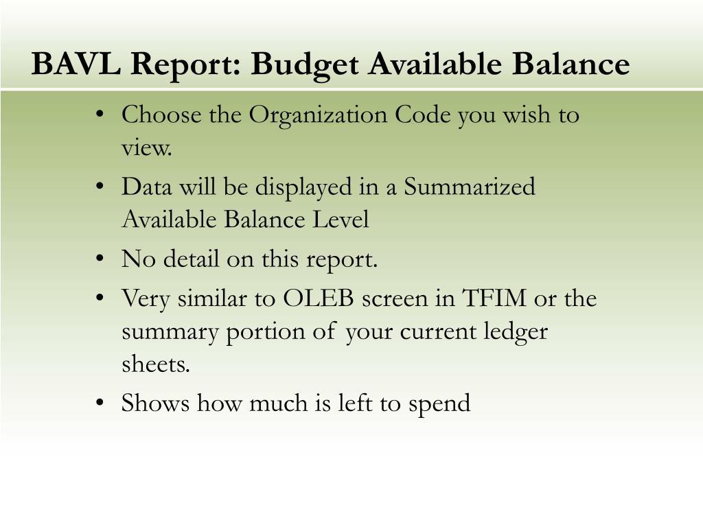 BAVL Report: Budget Available Balance