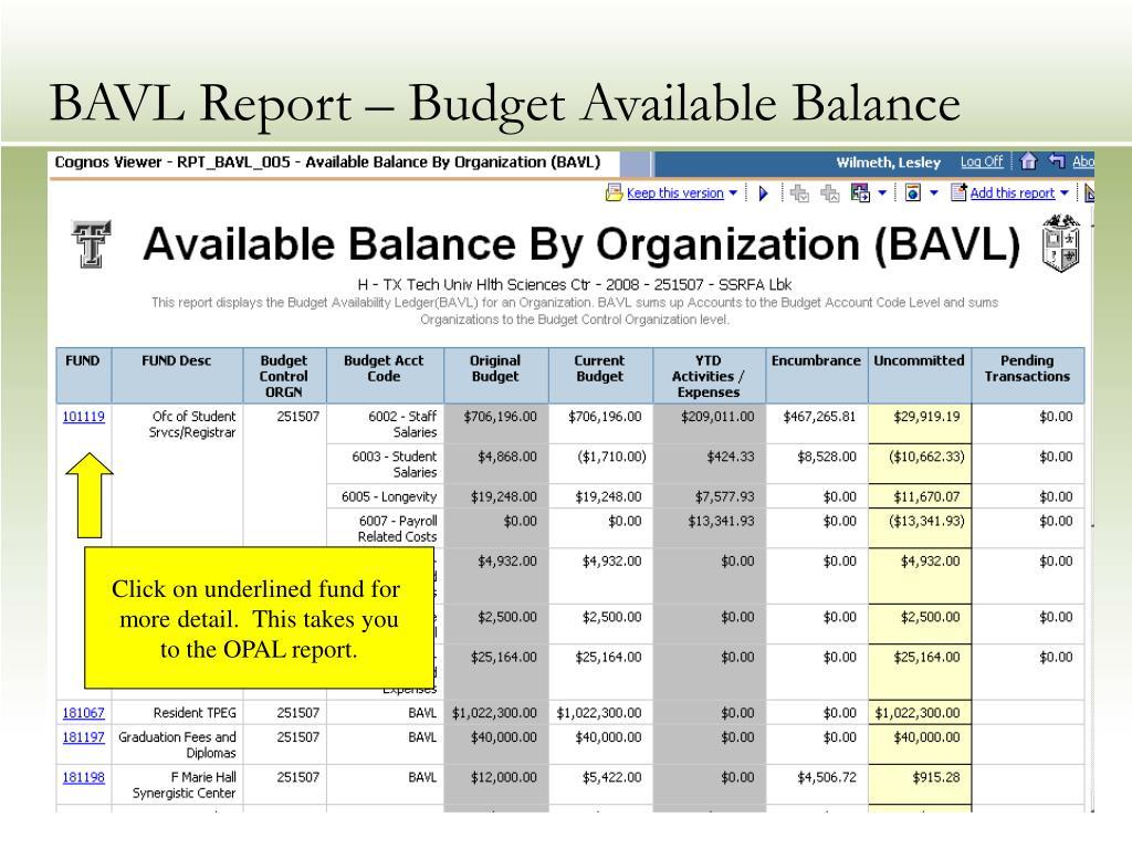 BAVL Report – Budget Available Balance