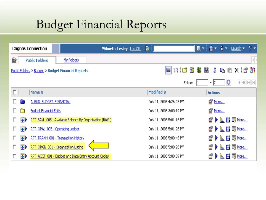 Budget Financial Reports