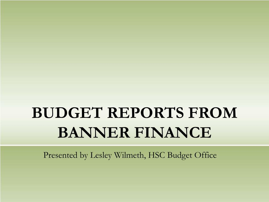 BUDGET REPORTS FROM BANNER FINANCE