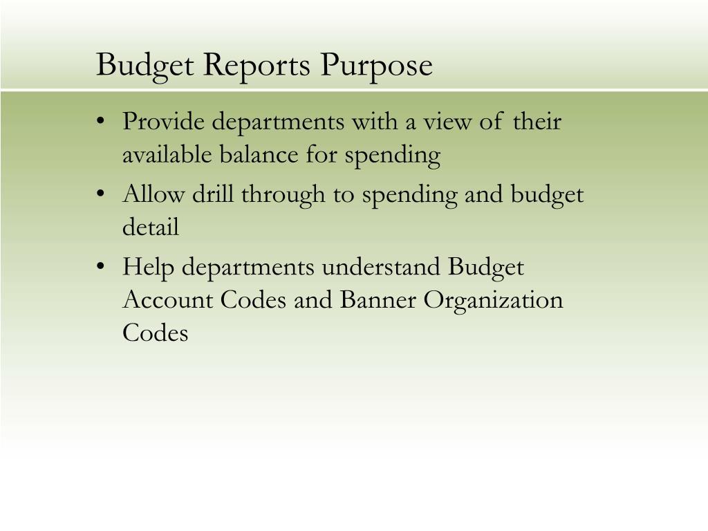 Budget Reports Purpose