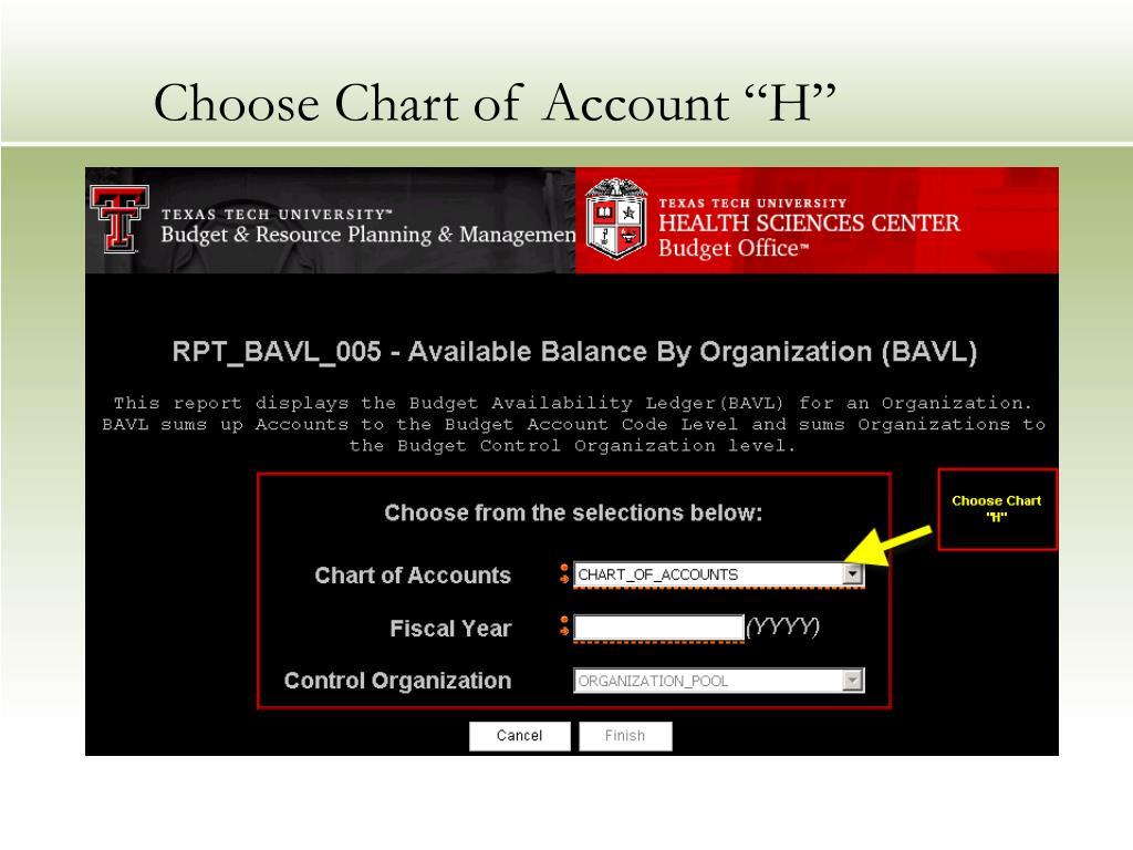 "Choose Chart of Account ""H"""