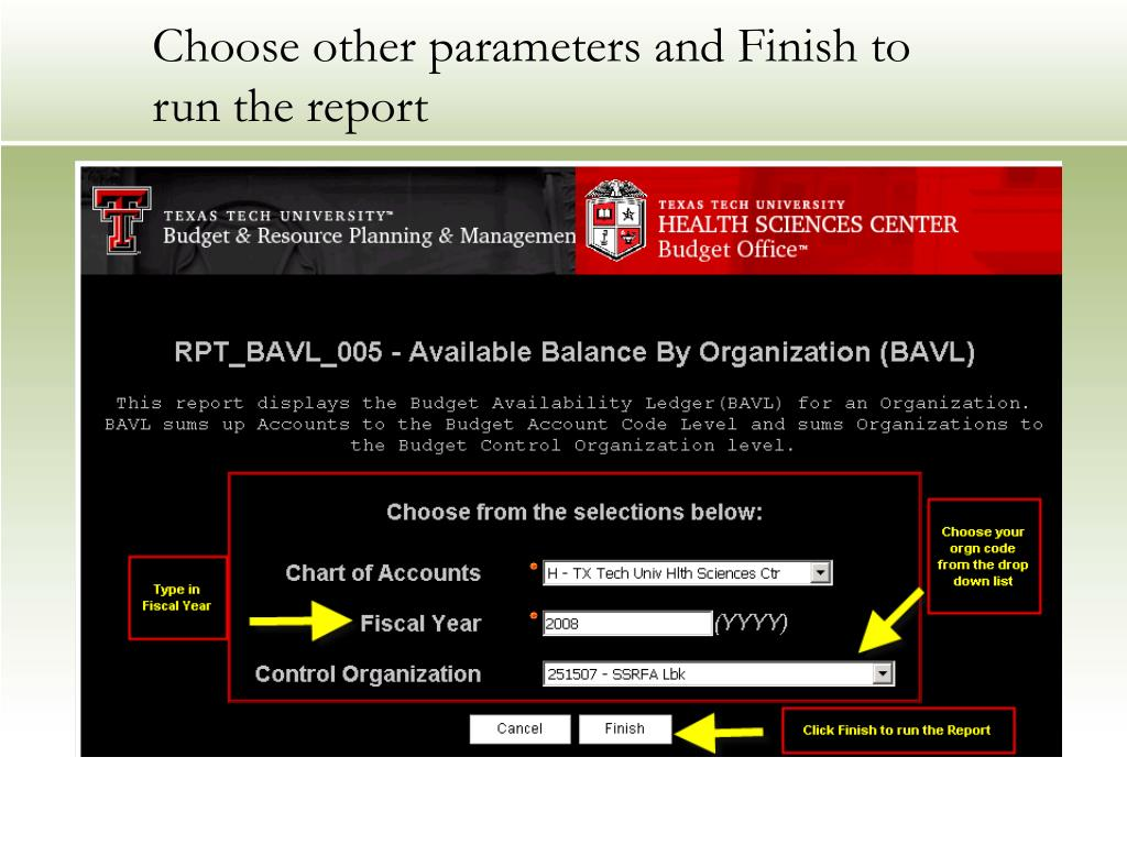 Choose other parameters and Finish to run the report