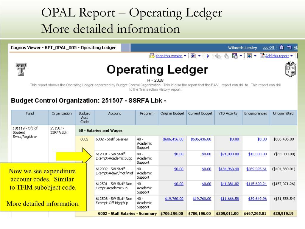 OPAL Report – Operating Ledger