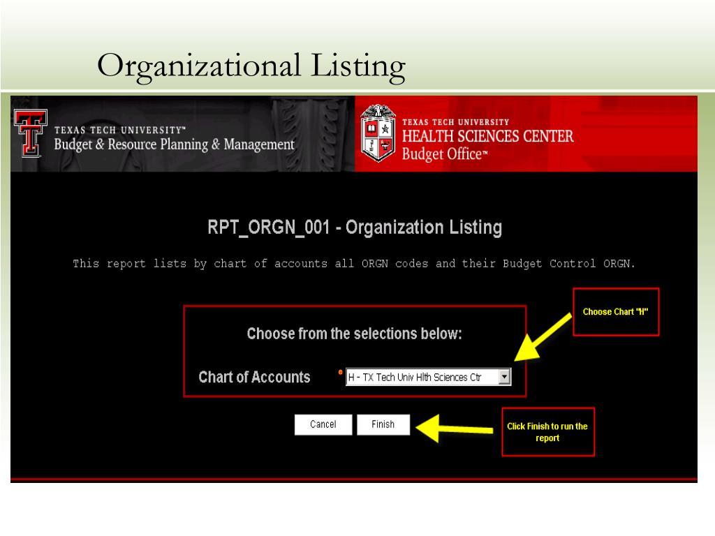 Organizational Listing
