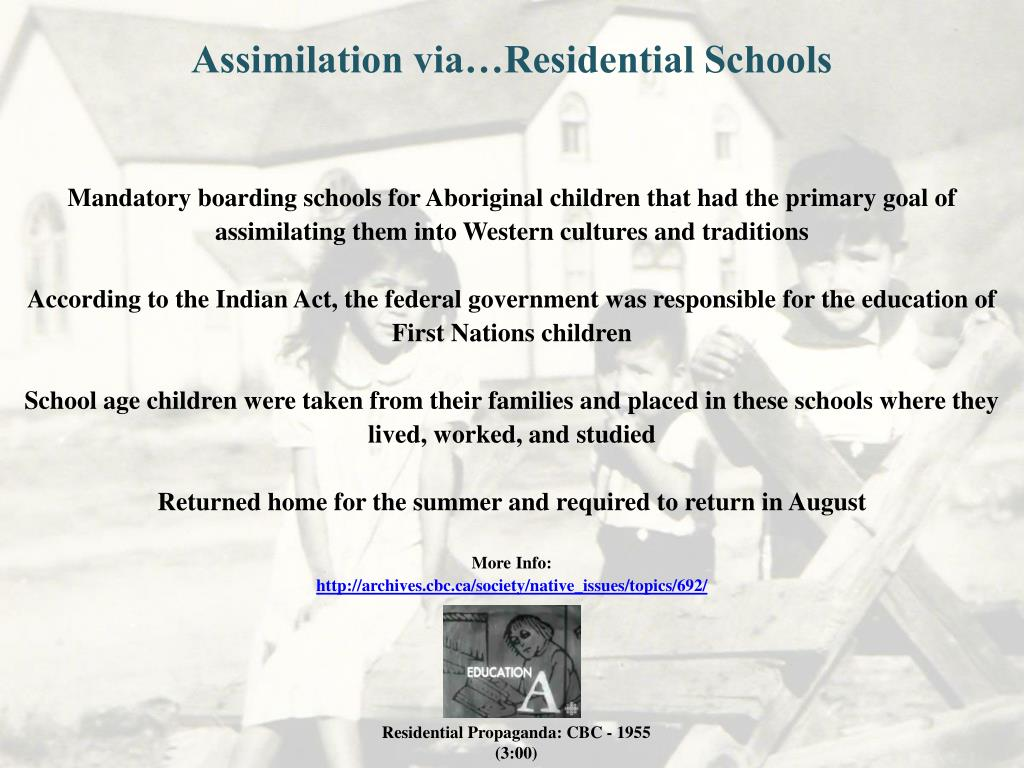 Assimilation via…Residential Schools