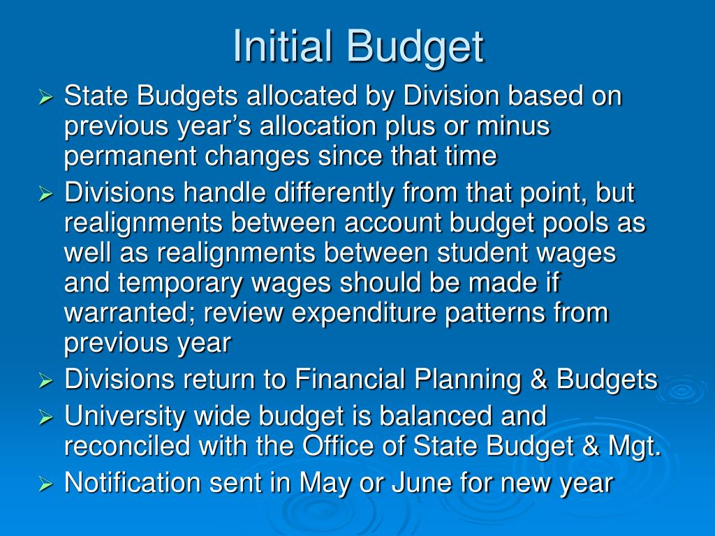 Initial Budget