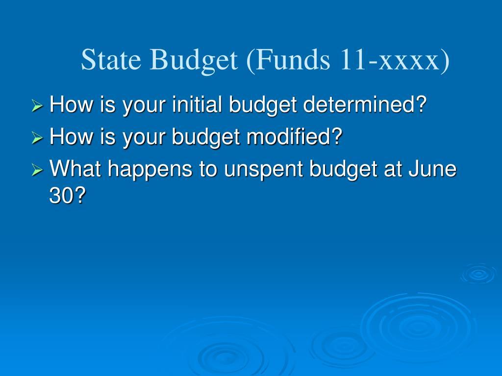 State Budget (Funds 11-xxxx)