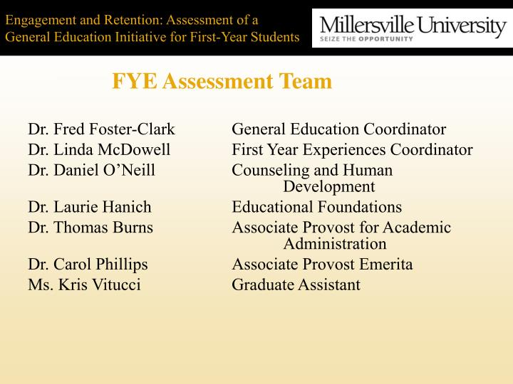 Engagement and retention assessment of a general education initiative for first year students2 l.jpg