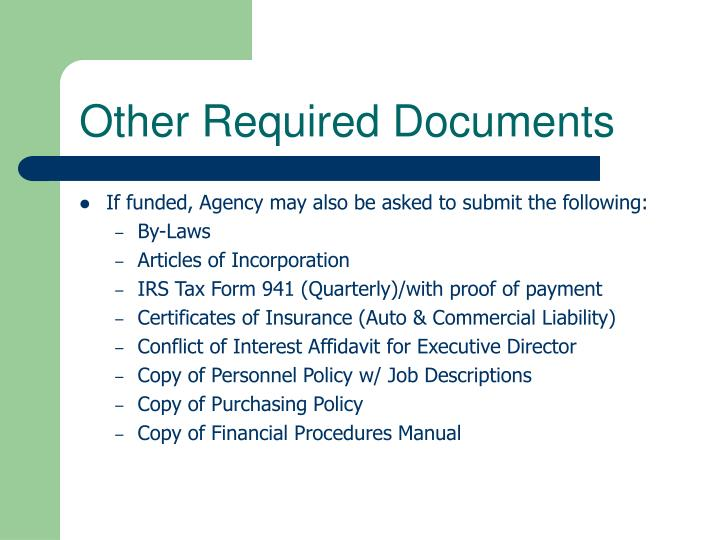 Other Required Documents