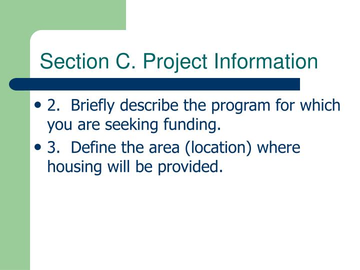 Section C. Project Information