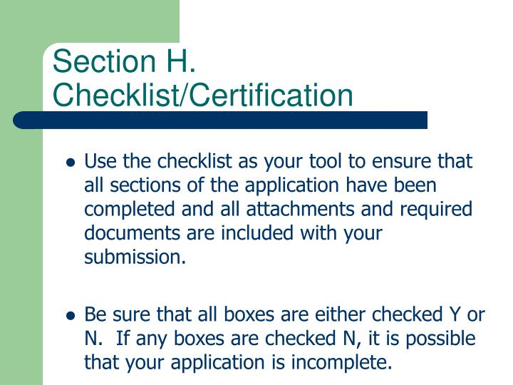Section H. Checklist/Certification