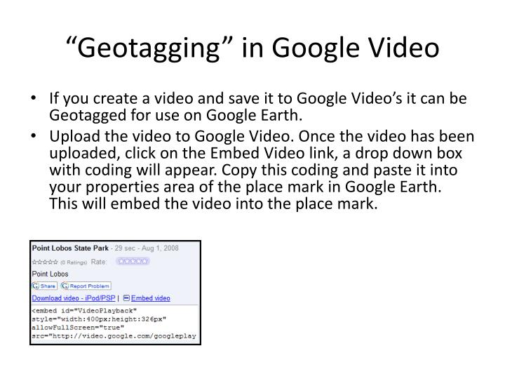 """Geotagging"" in Google Video"
