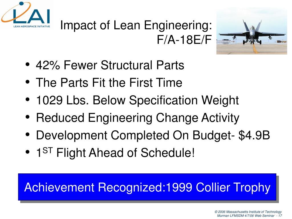 Impact of Lean Engineering: