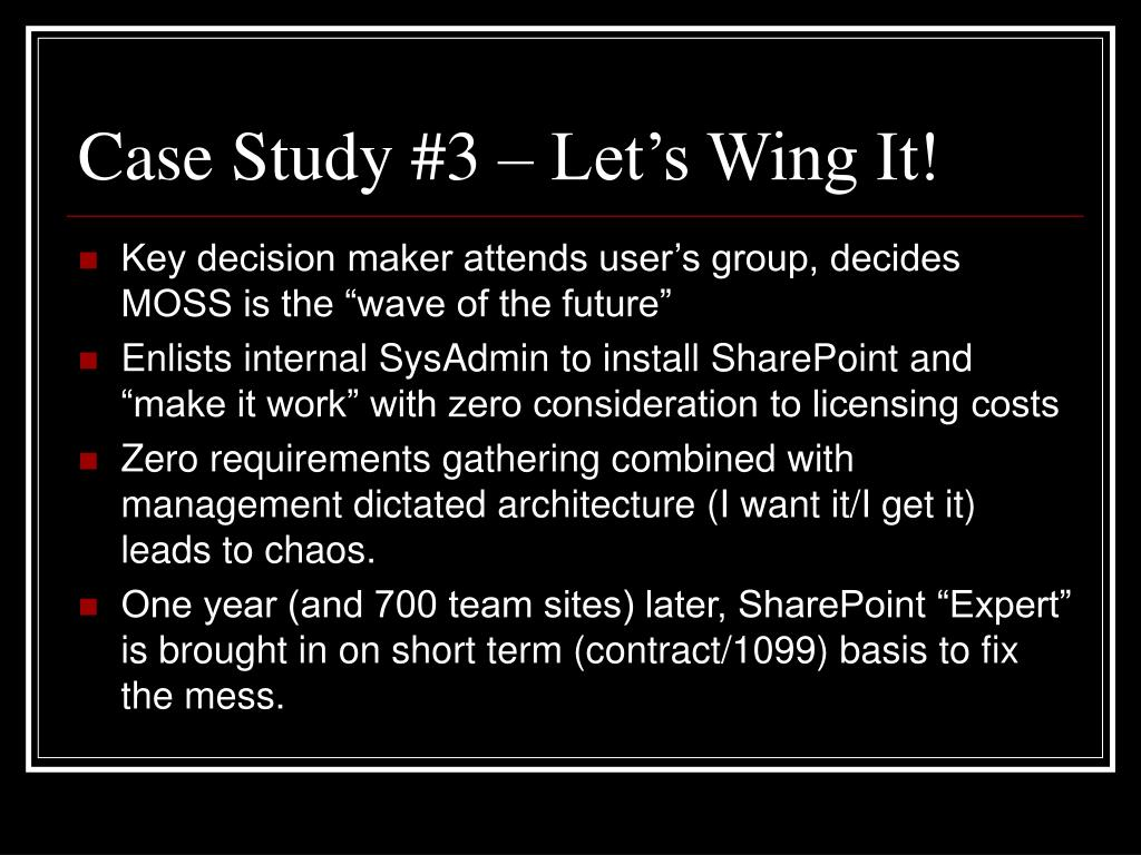 Case Study #3 – Let's Wing It!