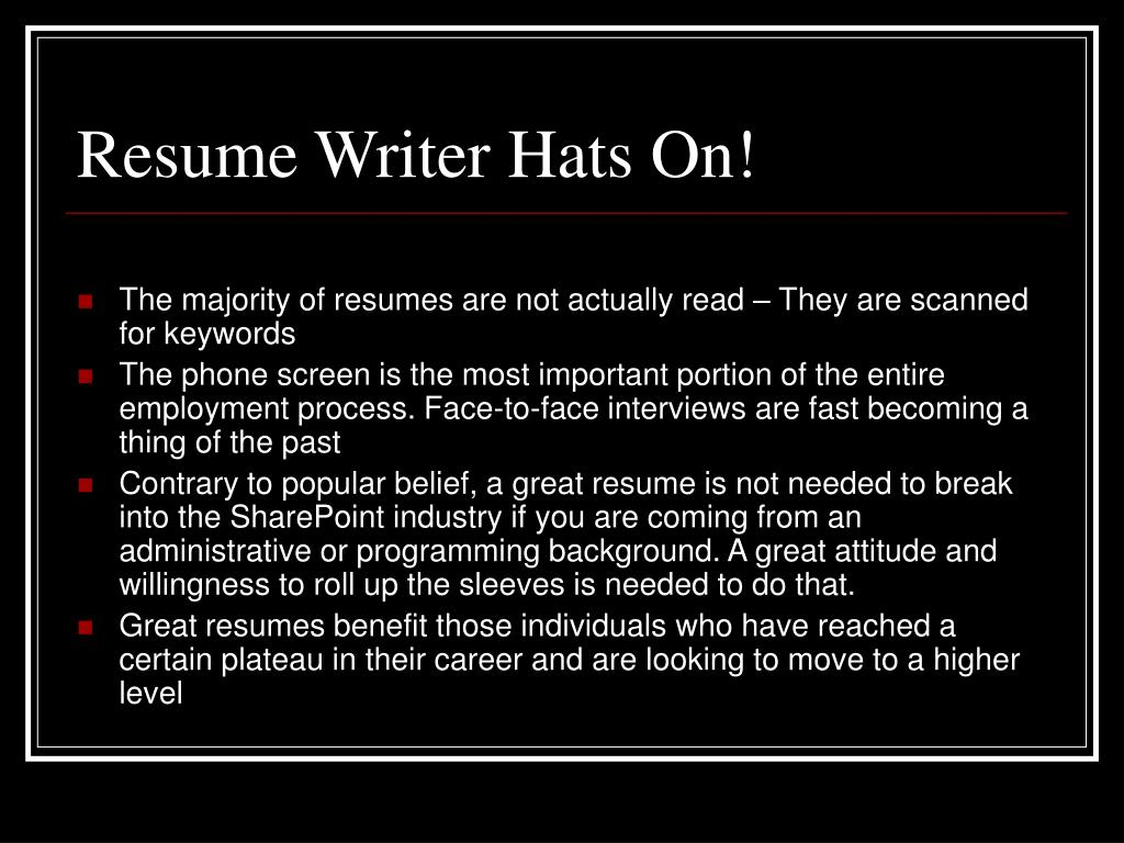 Resume Writer Hats On!