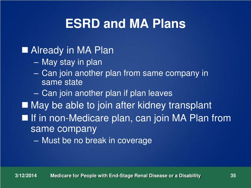 ESRD and MA Plans