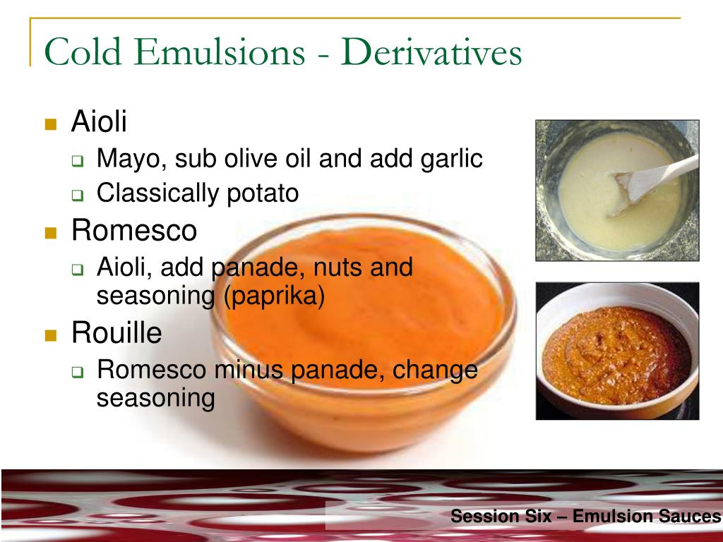 Cold Emulsions - Derivatives
