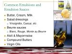 common emulsions and emulsion sauces