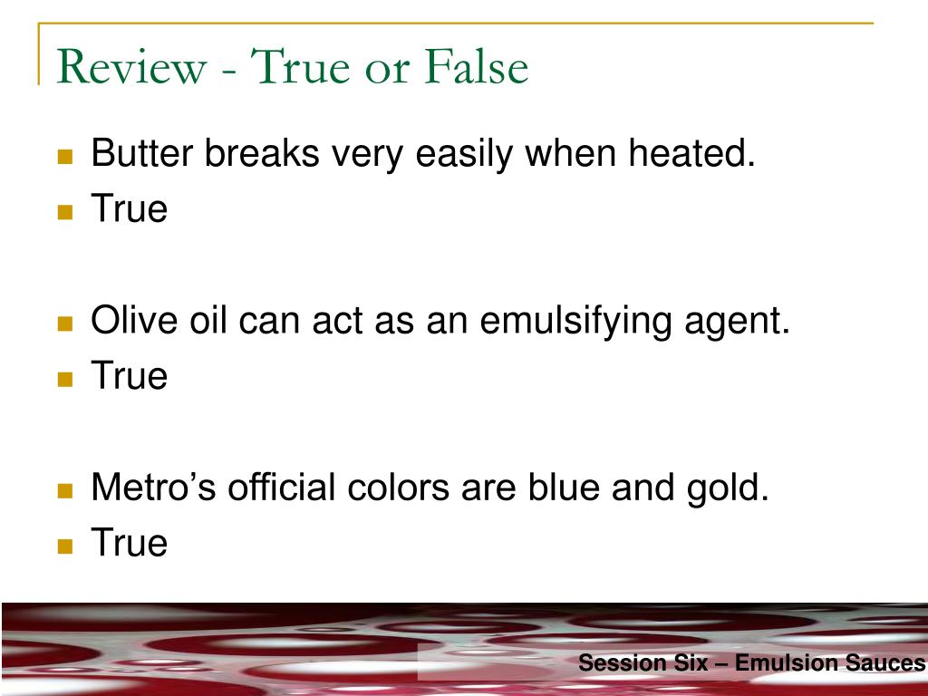 Review - True or False