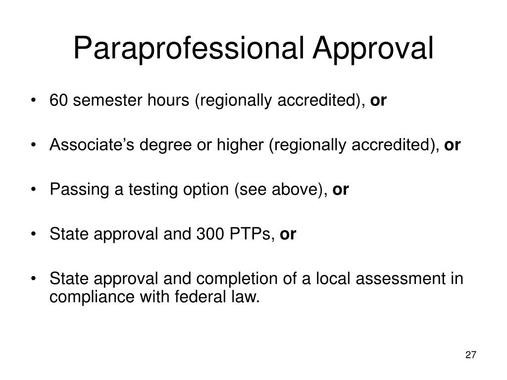 Paraprofessional Approval