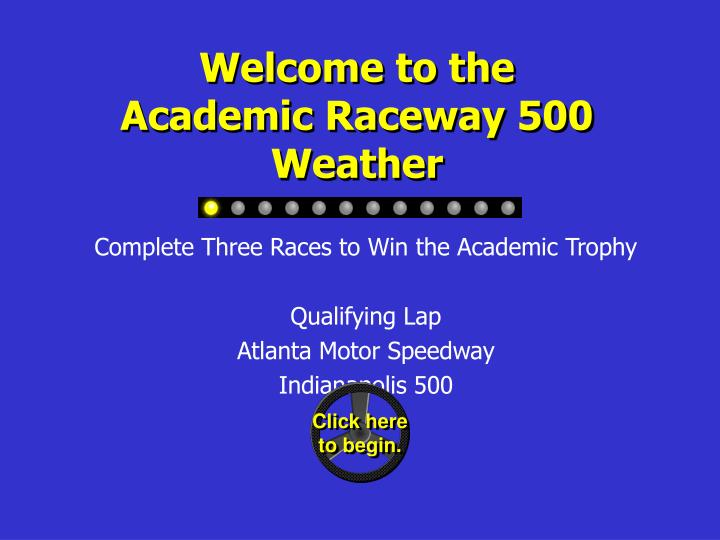 Welcome to the academic raceway 500 weather