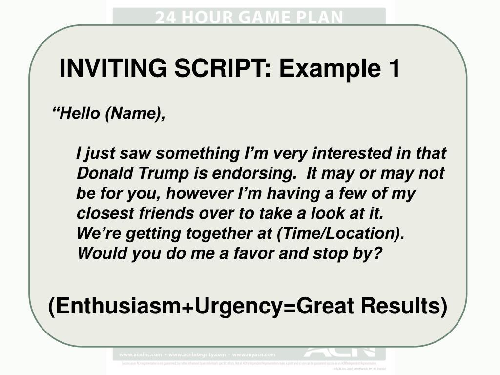 INVITING SCRIPT: Example 1