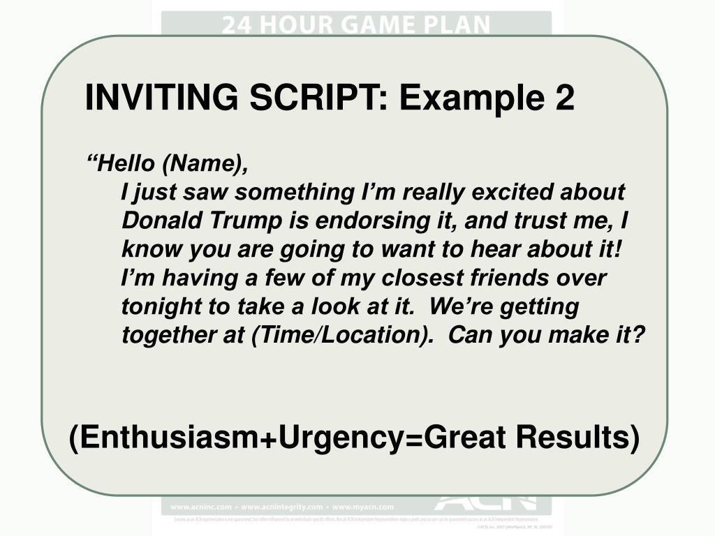 INVITING SCRIPT: Example 2