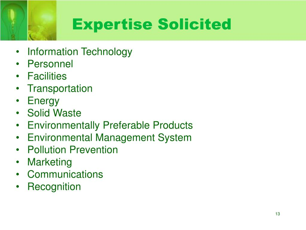 Expertise Solicited