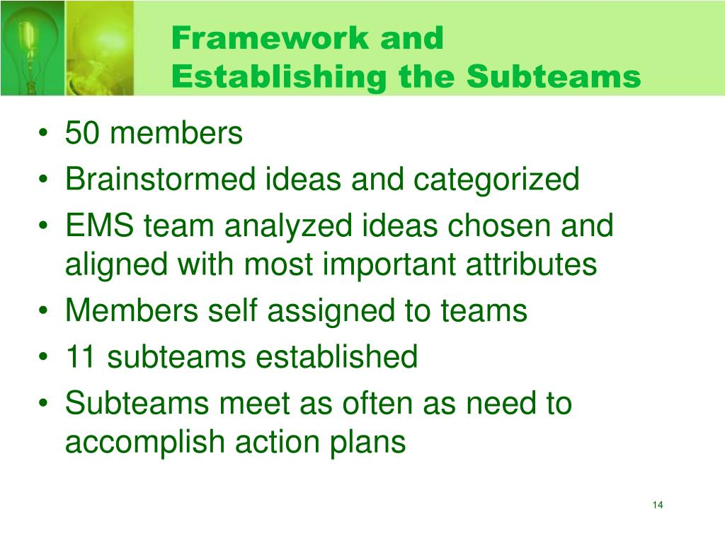Framework and Establishing the Subteams