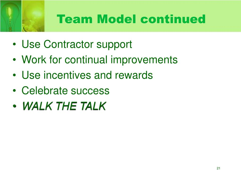 Team Model continued