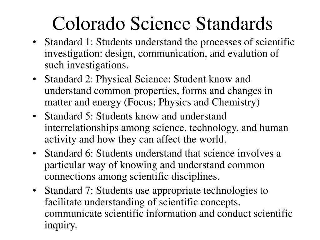 Colorado Science Standards