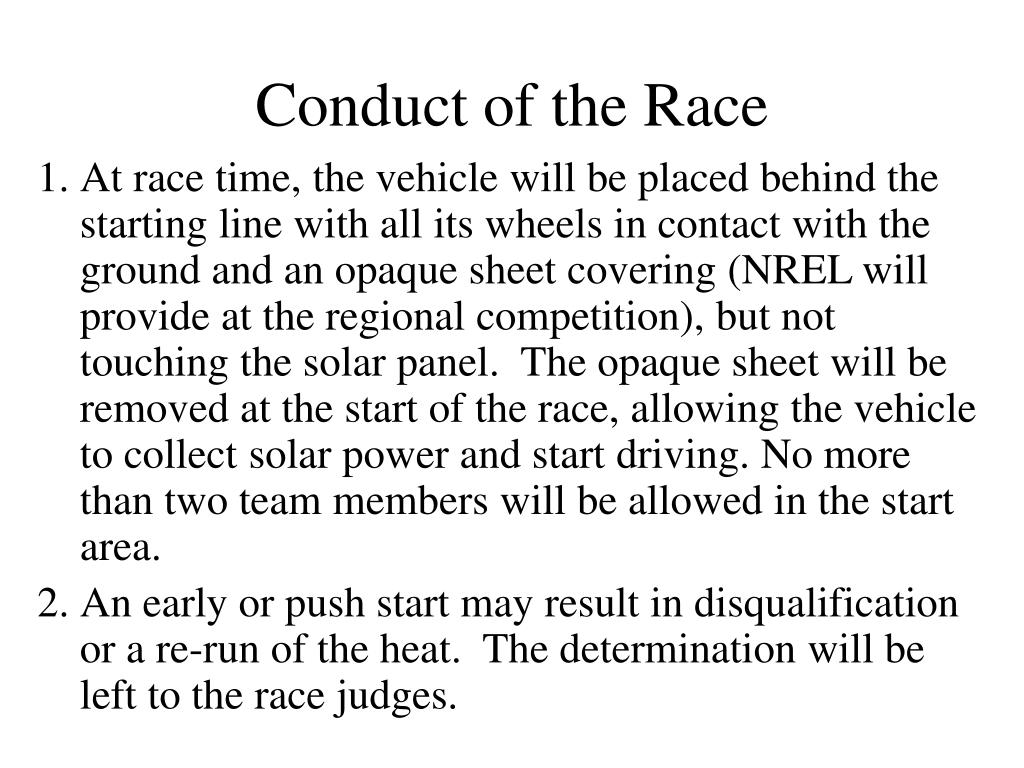 Conduct of the Race