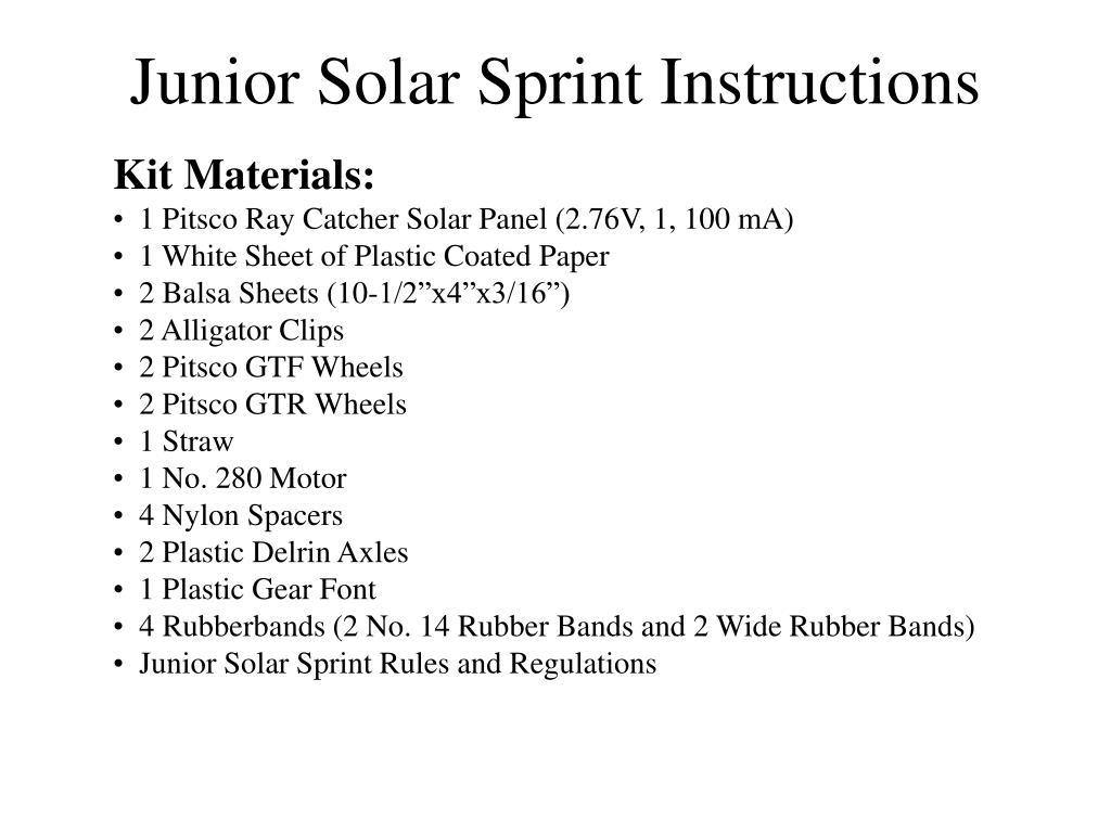 Junior Solar Sprint Instructions