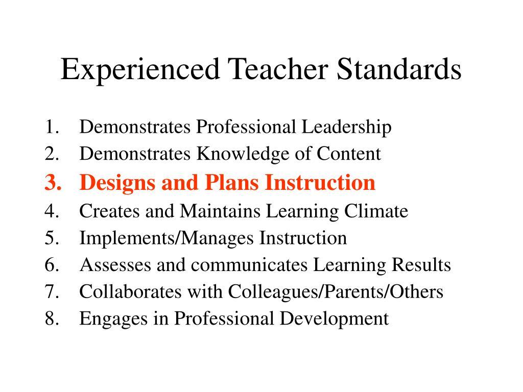 Experienced Teacher Standards