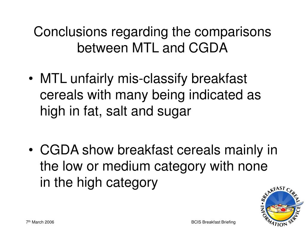 Conclusions regarding the comparisons between MTL and CGDA