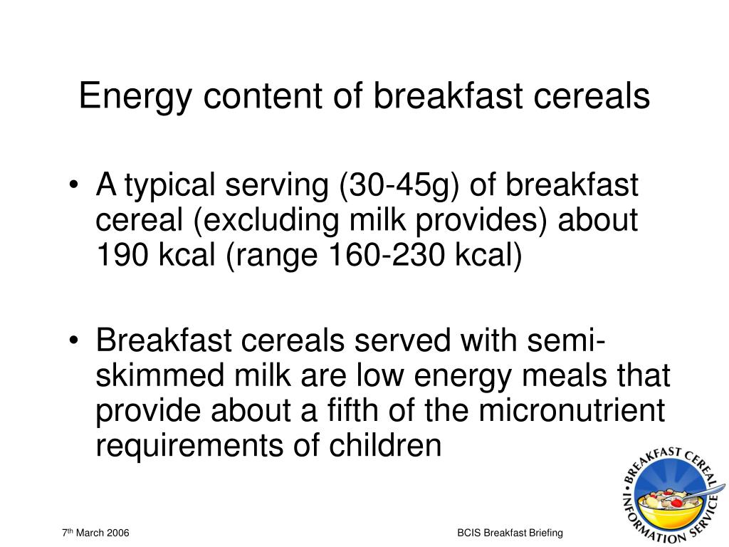 Energy content of breakfast cereals
