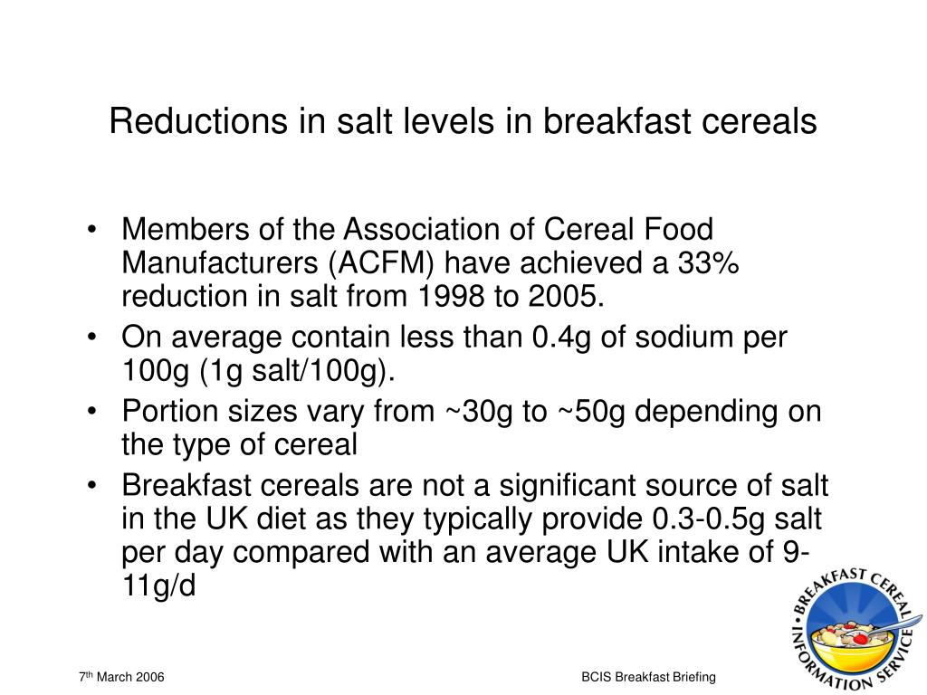 Reductions in salt levels in breakfast cereals