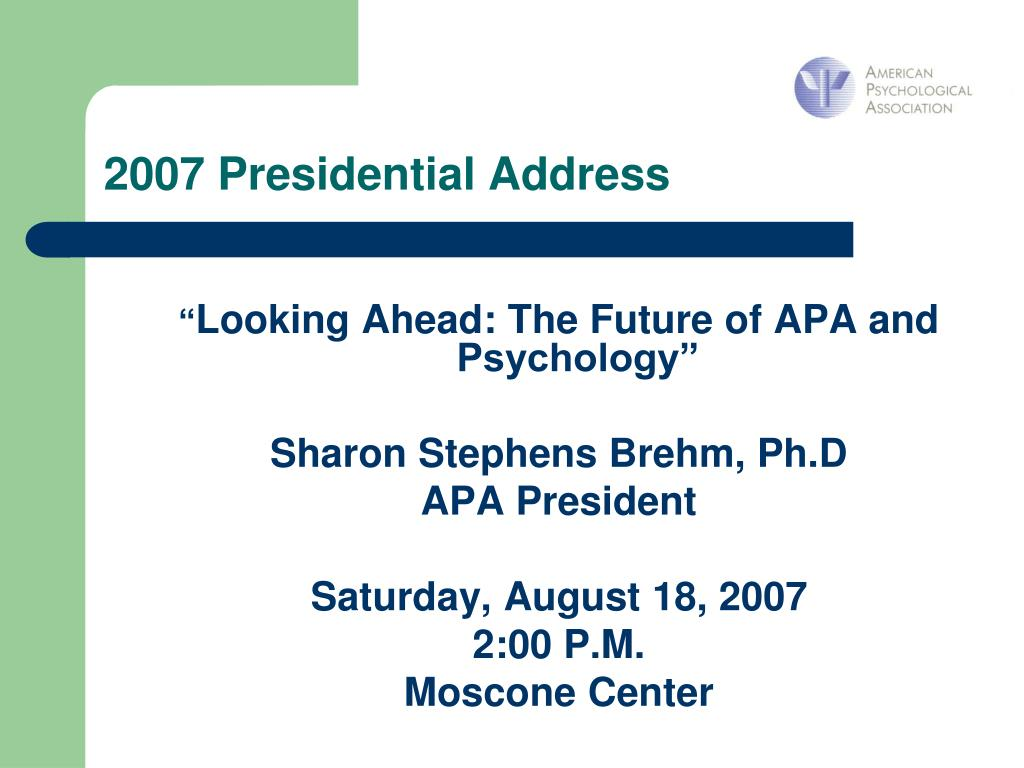 2007 Presidential Address