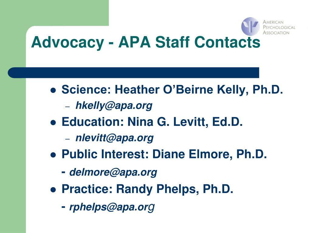 Advocacy - APA Staff Contacts