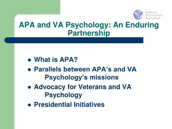 Apa and va psychology an enduring partnership3 l.jpg