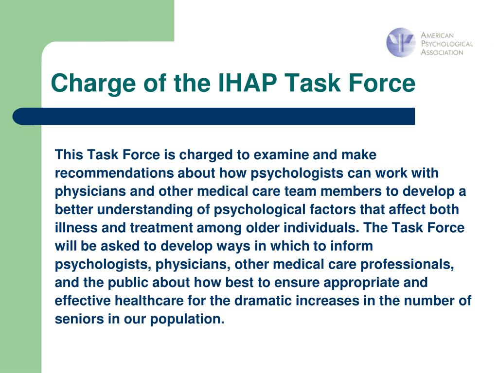Charge of the IHAP Task Force